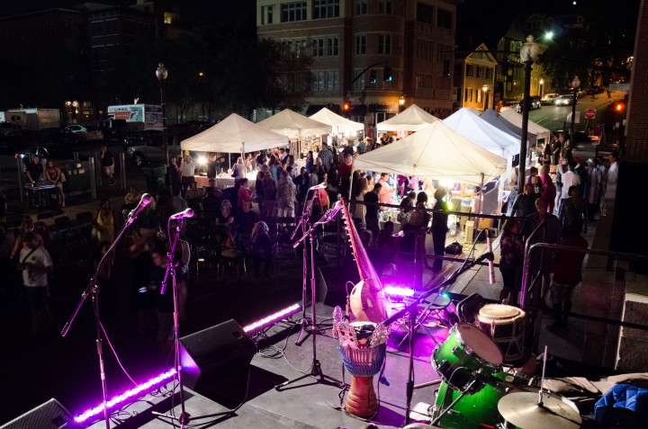 The WaterFire Music Stage on Steeple Street. Photo by Tom Lincoln.