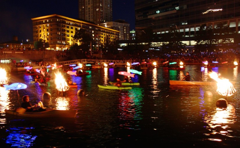 Clear Currents illuminated koi fish circle the Waterplace Basin. Photo by Erin Cuddigan.