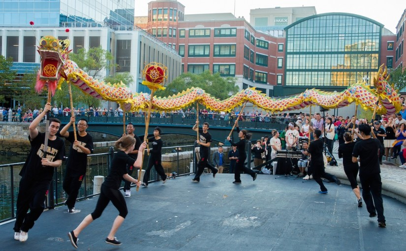 Celebrating chinese culture with Bryant University at WaterFire Providence. Photo by Jen Bonin.