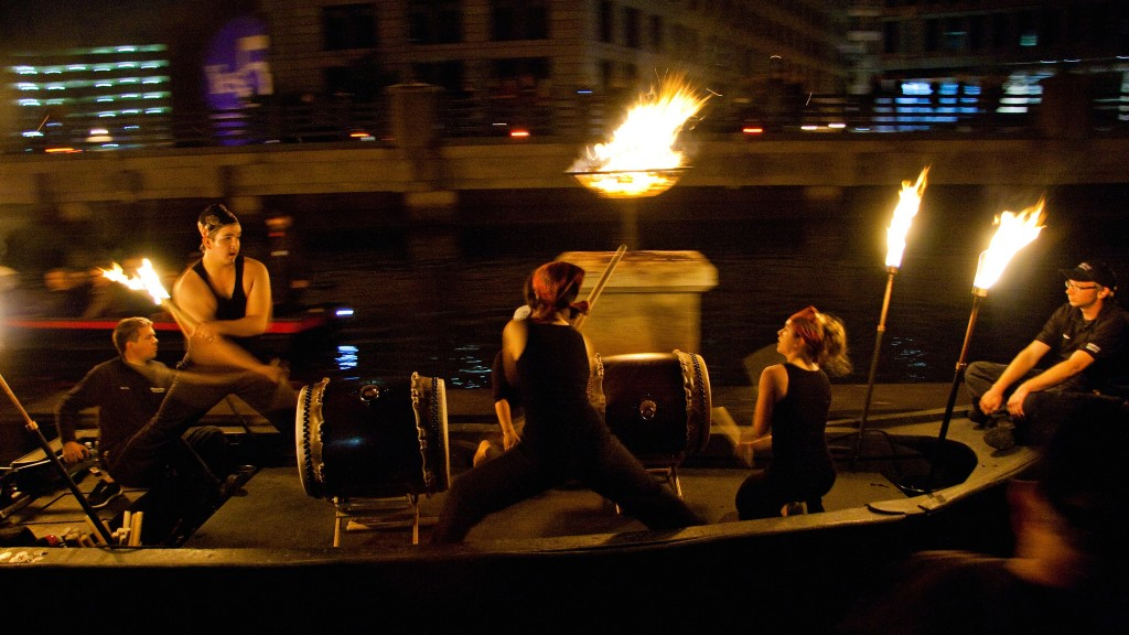 Gendo Taiko at WaterFire. Photo by Drew Christhilf.