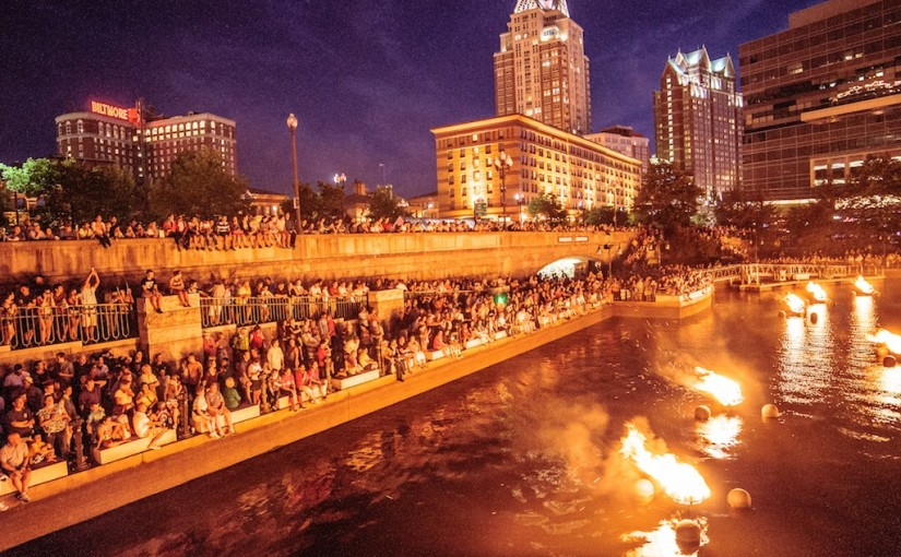 Waterplace Basin during WaterFire. Photo by Jeffrey Stolzberg.