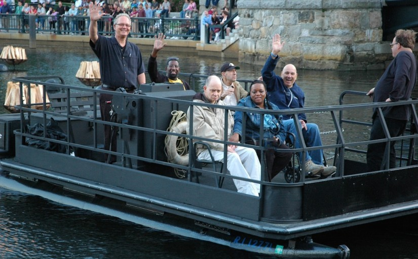 The WaterFire Providence Access Boat, piloted by captain Mark Karas. Photo Jen Bonin.