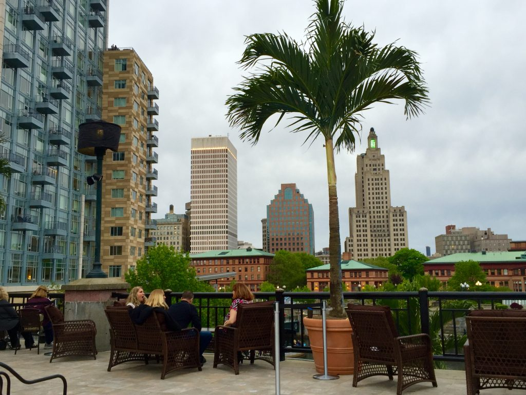 Palm Trees over Providence, the view from Skyline Restaurant deck. Photo by Barnaby Evans.