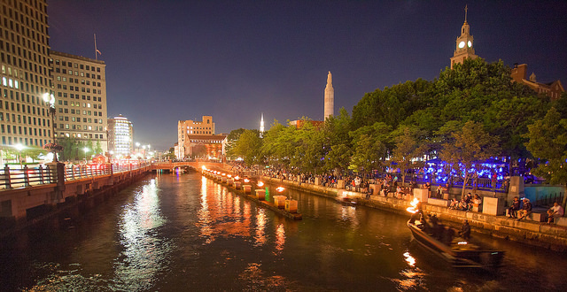 WaterFire at Memorial Park in Providence. Photo by Erin Cuddigan.