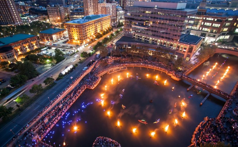 Aerial view of Dream Orb drop in Waterplace Basin (Photograph by Erin Cuddigan)