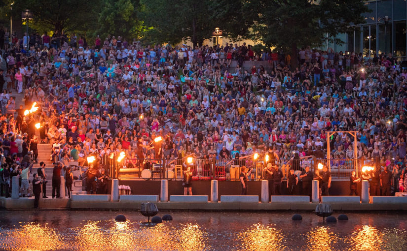 2018-5-26 A Packed Basin of Visitors to Enjoy the First Full Lighting of the WaterFire Season (Photograph by Kevin Murray)